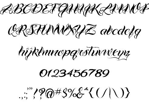 VTC-Bad Tattoo Hand One Tattoo Fonts
