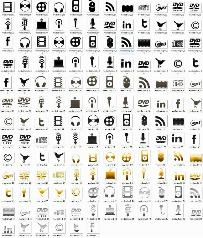 150 Mono Media Icons