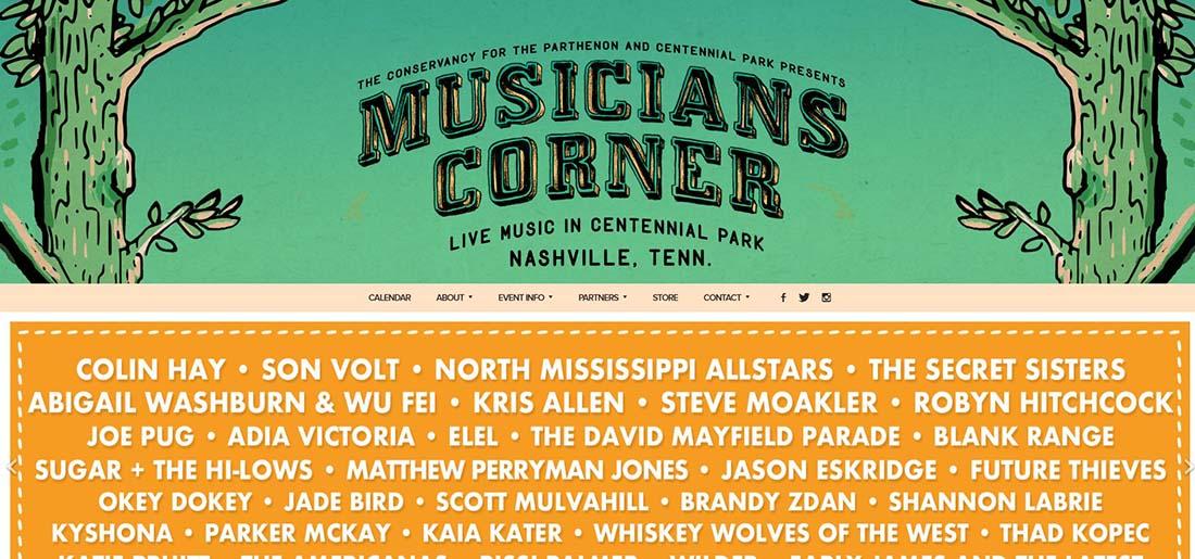 Musicians Corner websites with earthy tones