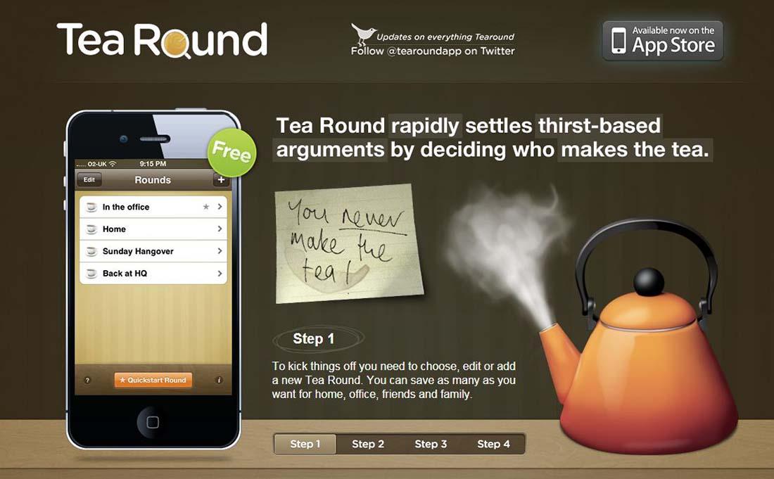 Tea Round App websites with wood texture