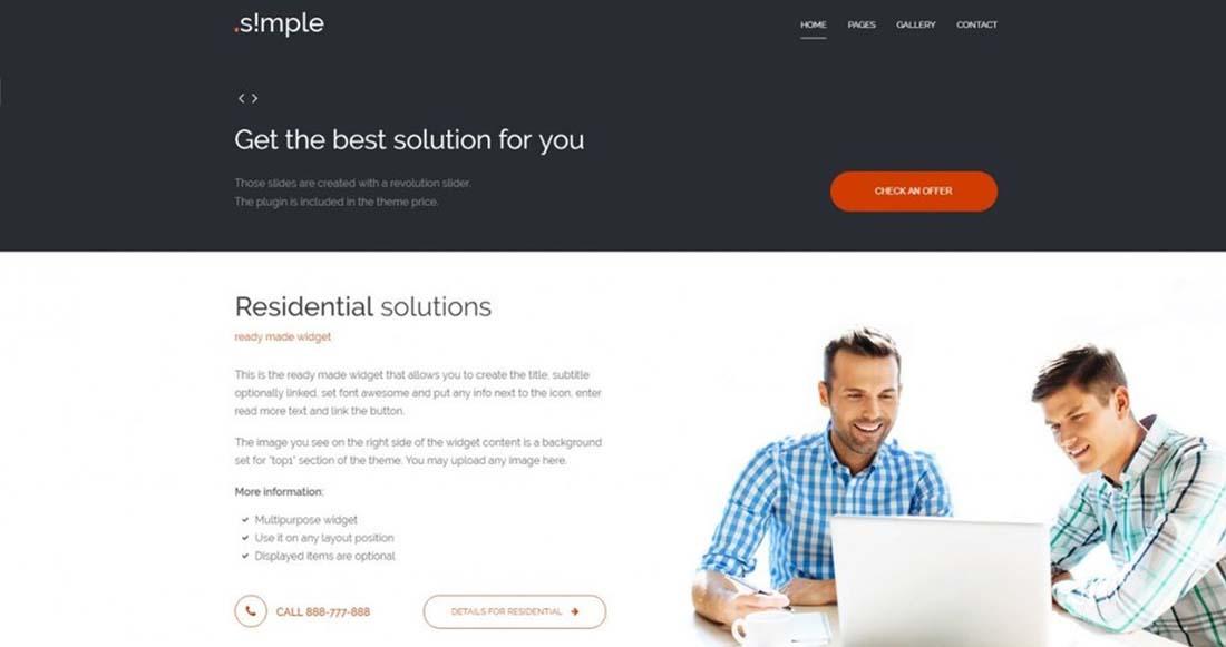 PE Simple business WordPress theme by PixelEmu