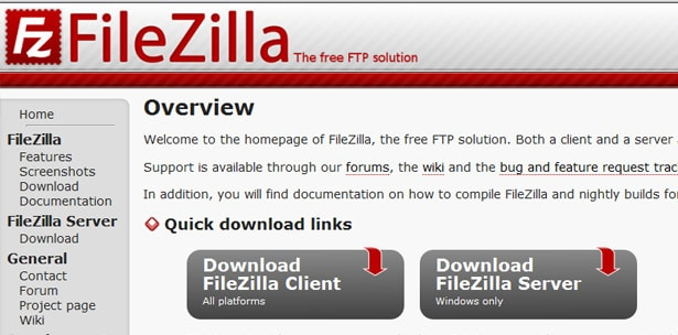 FileZilla free Web Design Tool