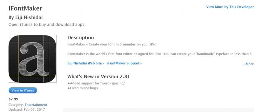 iFontMaker iPad Apps for Designers