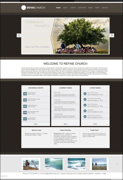 Refine religious website template