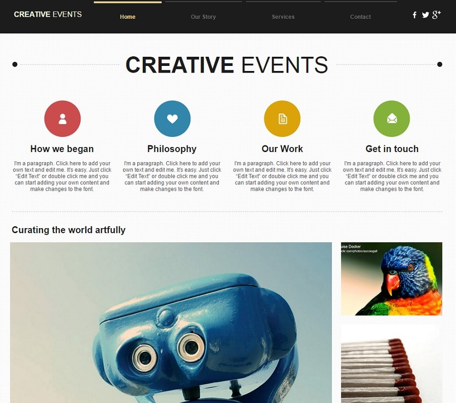 creative events website template