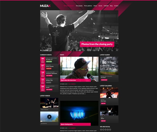 Muzak Nightlife Website Templates