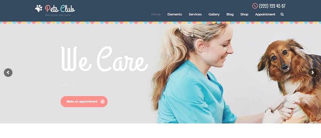 Pets Club / Pet Care and Shop Website Template