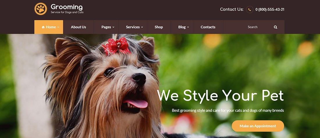 Pet Grooming Website Template / Wp Theme