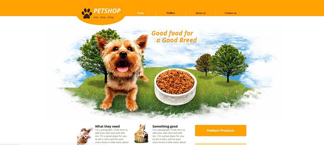 Pet Supplies Website Template
