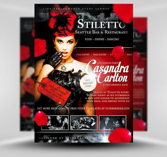 Stiletto Free Restaurant Singer Flyer TemplateStiletto Free Restaurant Singer Flyer Template