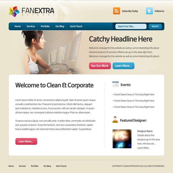 Design a Clean Corporate Website Layout