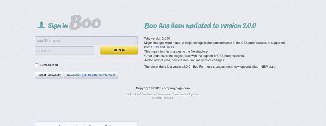Boo Admin Bootstrap Templates