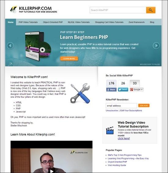 KillerPHP online web design courses tutorials