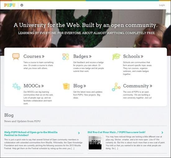 P2PU online web design courses tutorials