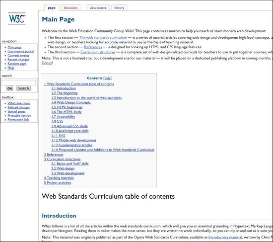 W3.org online web design courses tutorials