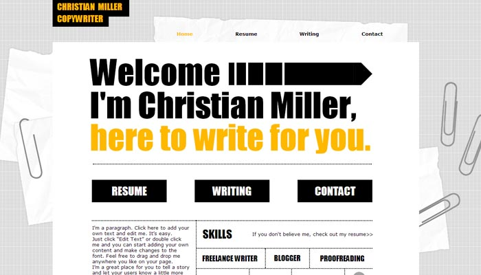 Copywriter Resume CV template
