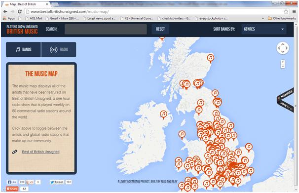 best british music Interactive Maps
