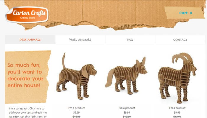 carton craft wix website template