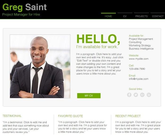 online cv Resume Website Templates