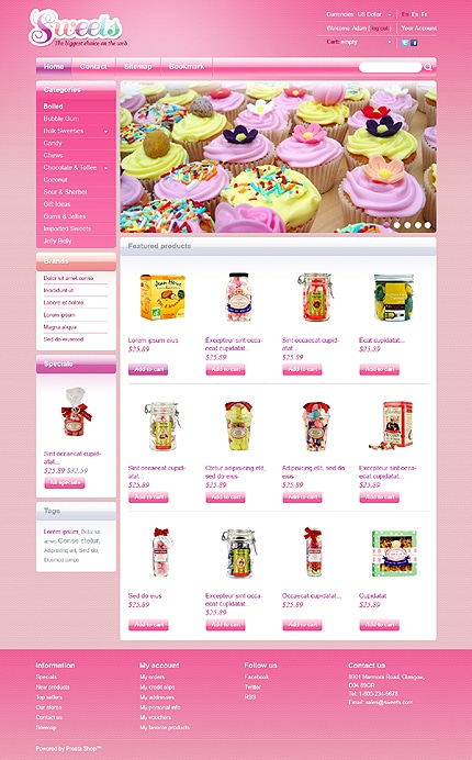 Candy Shop PrestaShop Template