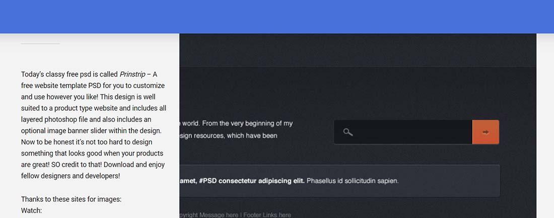 Prinstrip - A free website template PSD