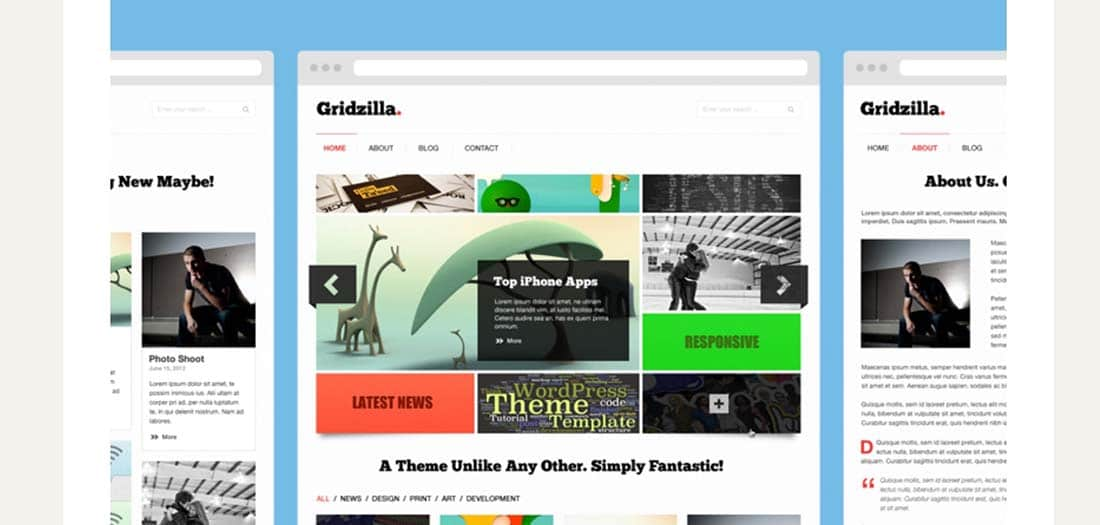 Free Gridzilla PSD Theme website photoshop templates