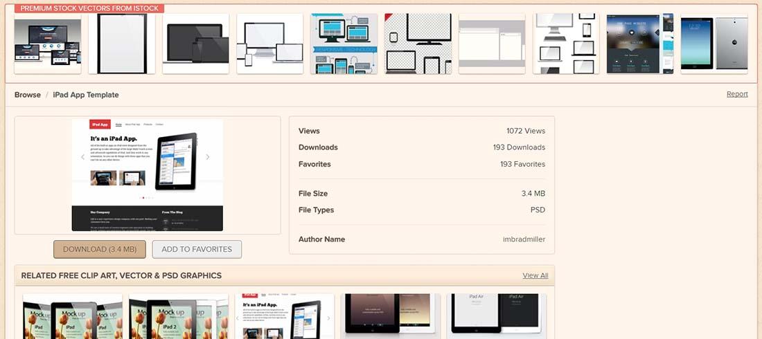 iPad App Template website photoshop templates