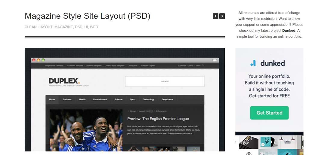 Magazine Style Site Layout website photoshop templates