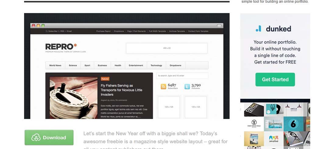 Magazine Style Web Layout (PSD)