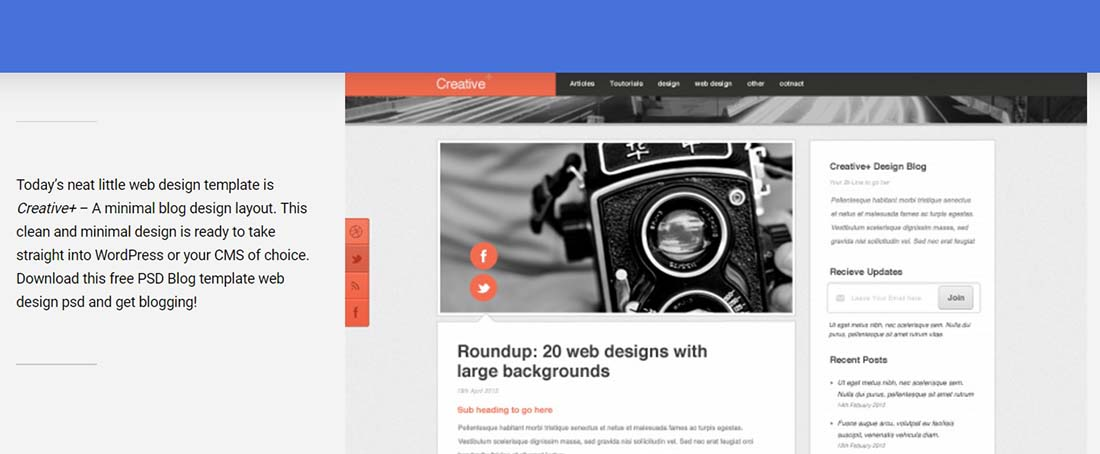 Free PSD Blog template web design