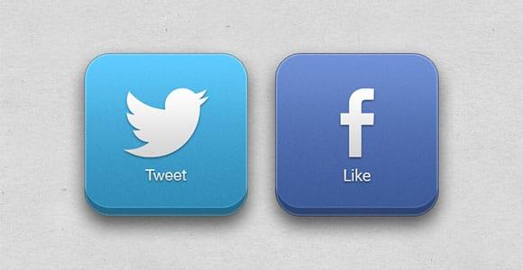 3D Facebook & Twitter PSD buttons