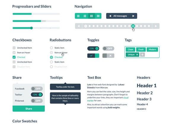 Free PSD HTML Flat UI kit
