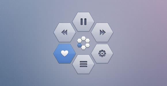 Hexagon pop-up PSD menu
