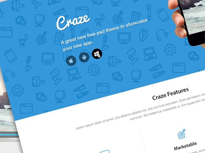 Craze Landing Page Template Free PSD