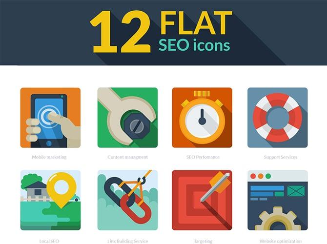 FLat SEO Icons Free PSD