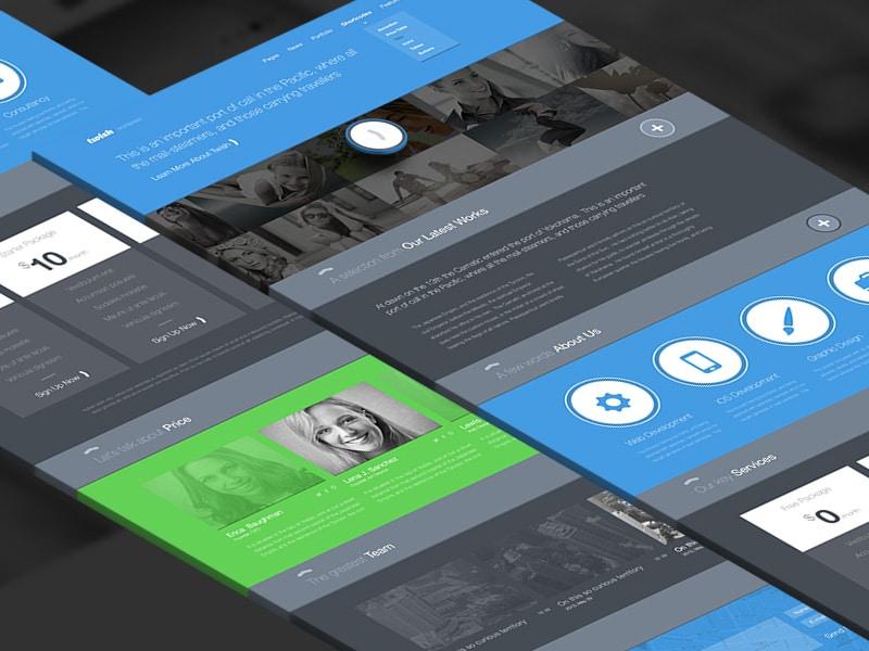 Freebie PSD Twish Single Page Website Layout