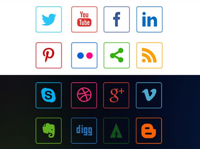Social Media Line Icons Free PSD