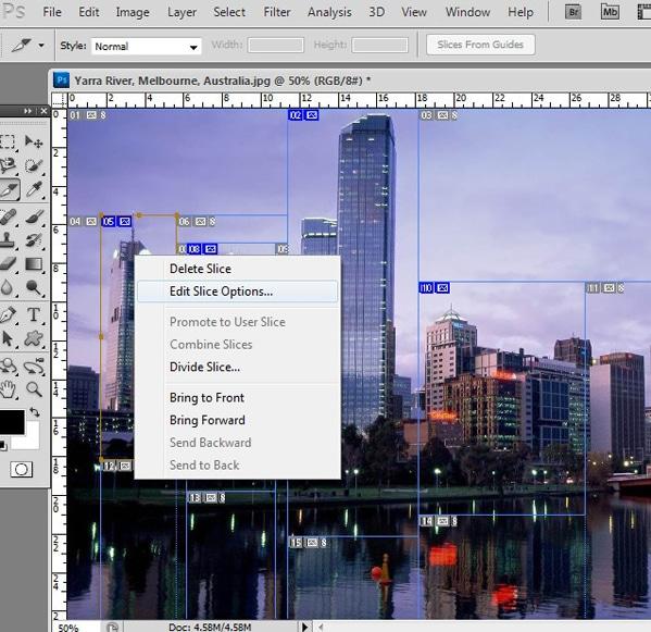 How to hyperlink in Photoshop edit slice