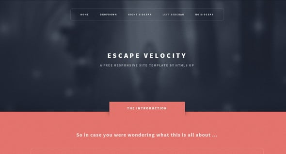 Escape Velocity Free Responsive HTML5 Templates