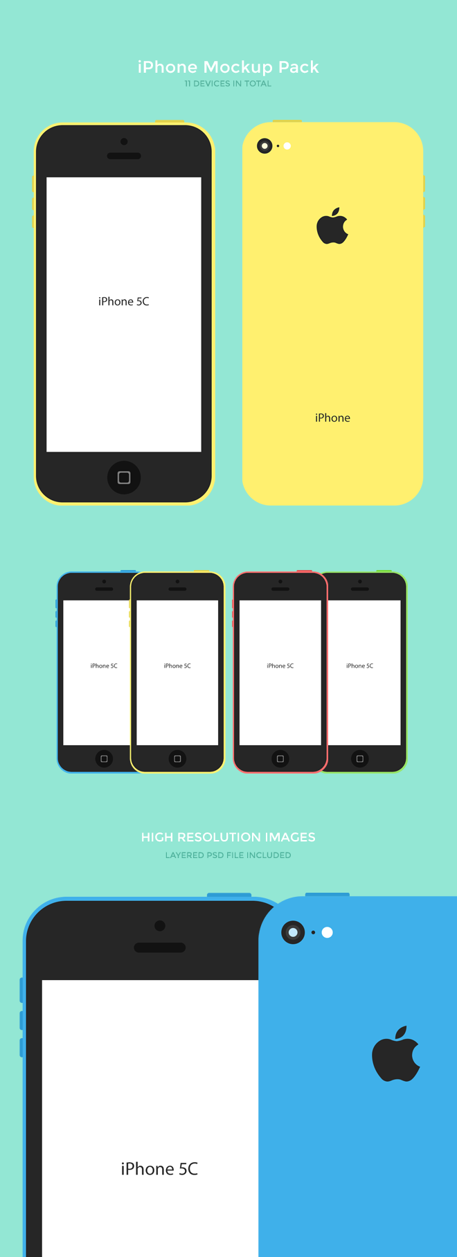Flat iPhone C Mockup Pack Free PSD