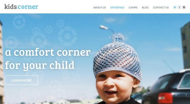 Kids Corner Childcare Website Template Free PSD