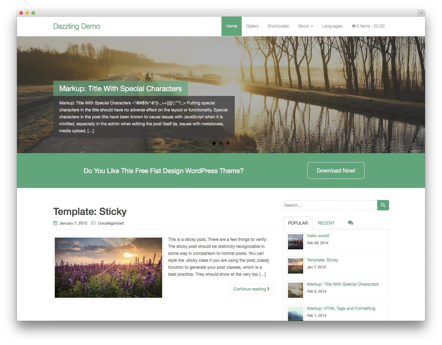 Dazzling Free Bootstrap WordPress Theme