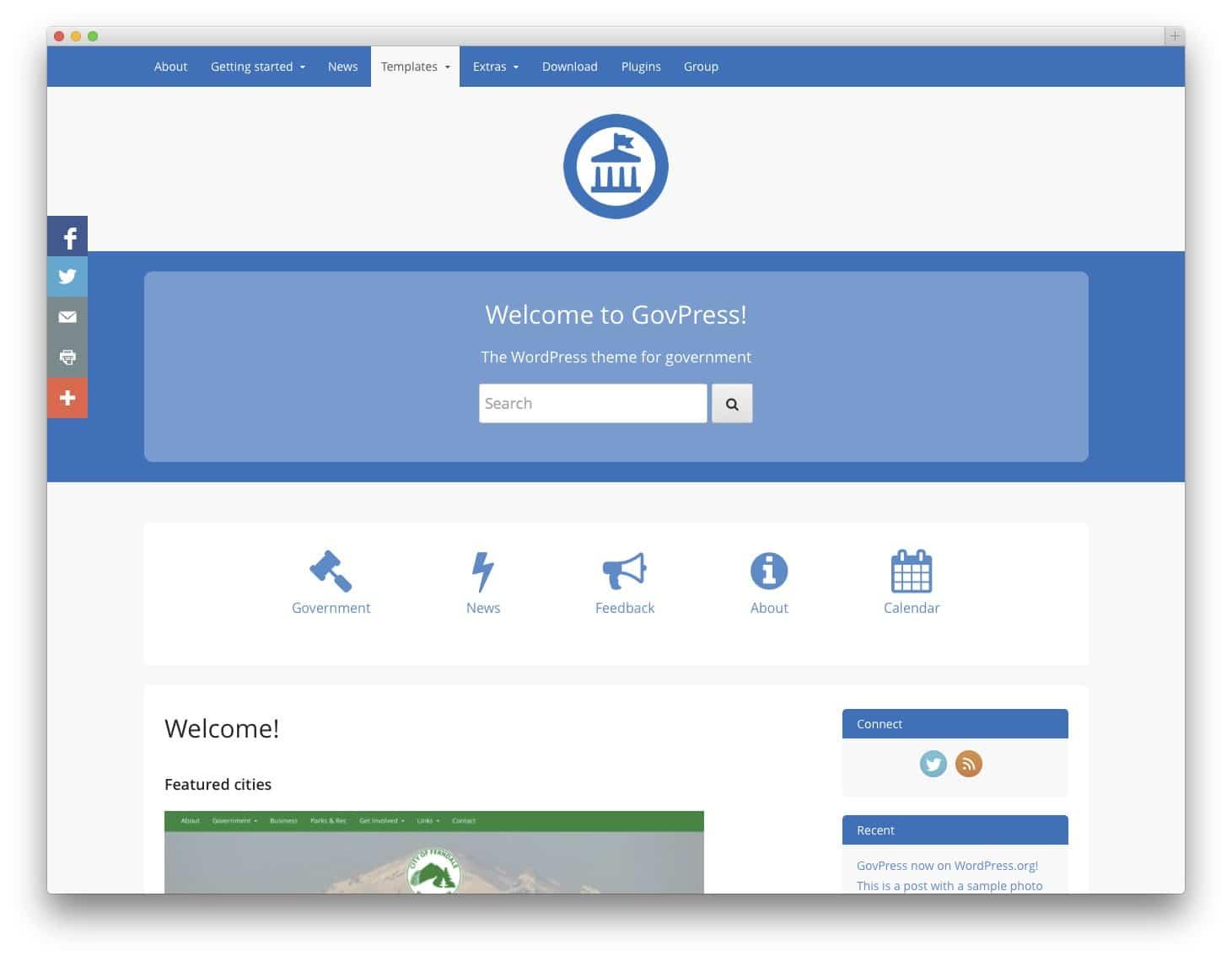 GovPress Free Bootstrap WordPress Theme