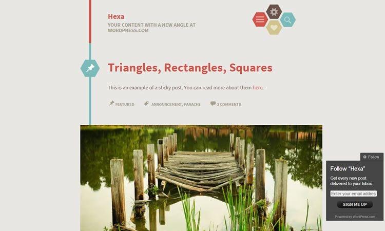 Hexa (free WP Blogging theme)