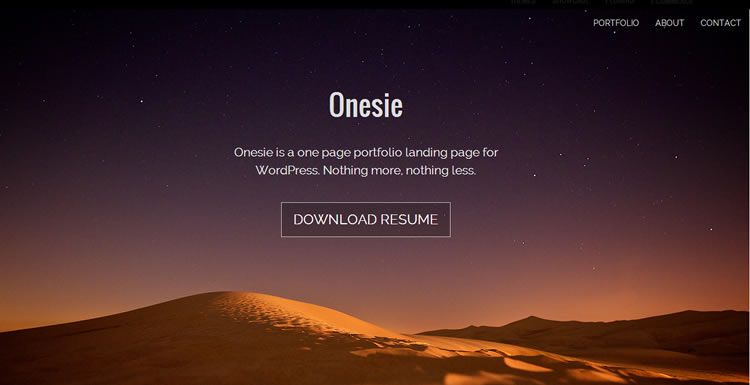 Onesie (free WordPress Landing page theme)