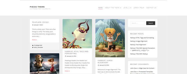 Pieces (Grid-based free blogging portfolio theme for WordPress)