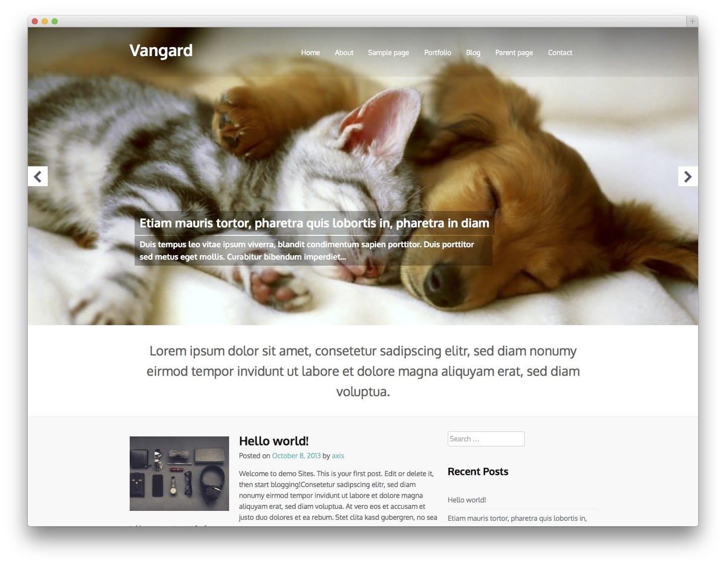 Vanguard Free Bootstrap WordPress Theme