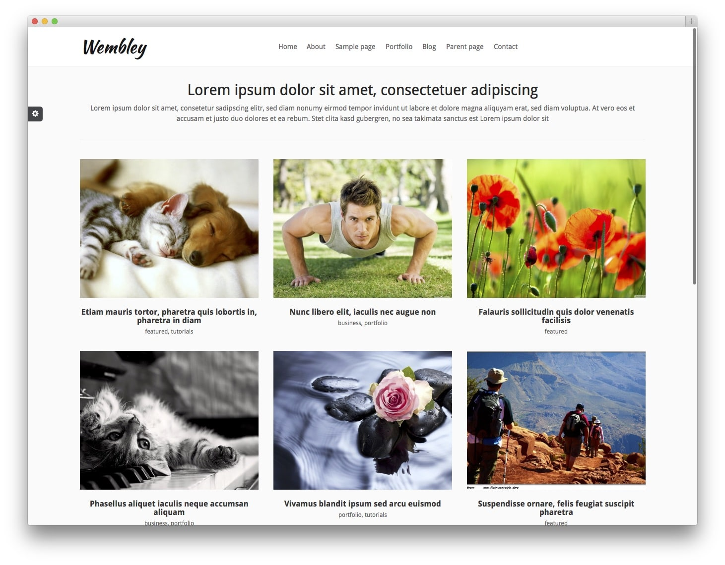 Wembley Free Bootstrap WordPress Theme
