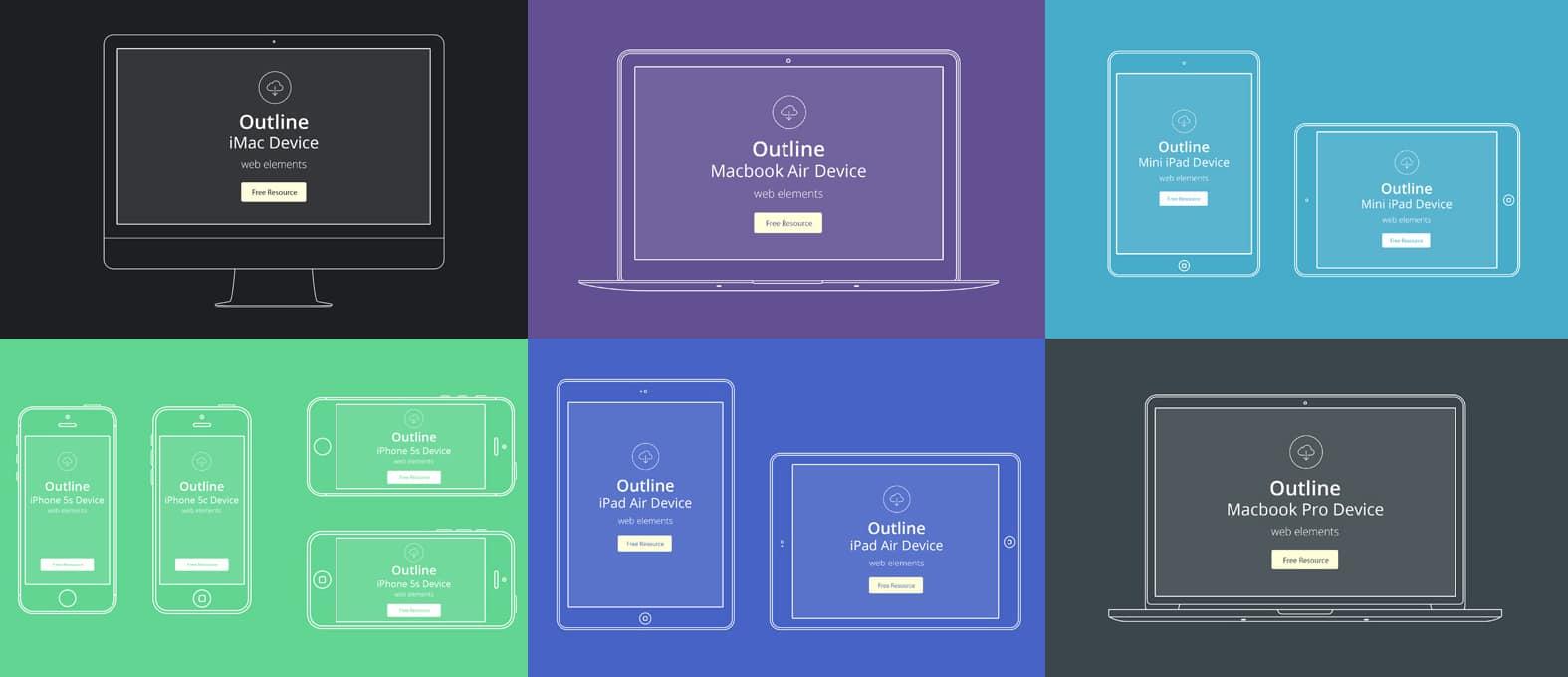 Apple Device Outline Mockups Free PSD