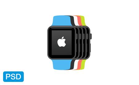 Apple Watch Flat Mockup Free PSD